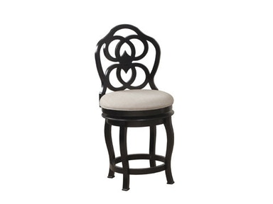 Powell Furniture Big And Tall Black Wood Scroll Barstool 14B8048CS