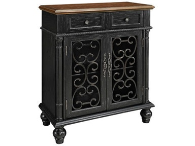 Powell Furniture Shabby Black Console (2 Drawer/2Door) 161-933