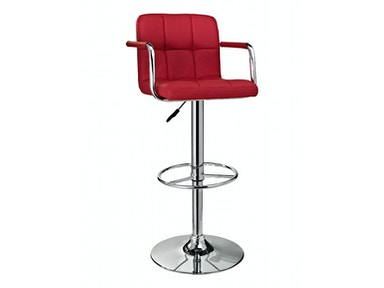 Powell Furniture Red and Chrome Quilted Barstool 171-486