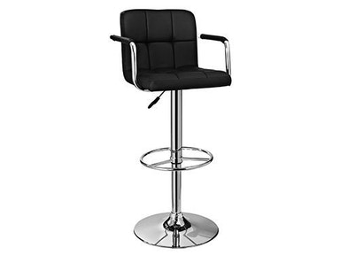 Powell Furniture Black and Chrome Quilted Barstool 171-915
