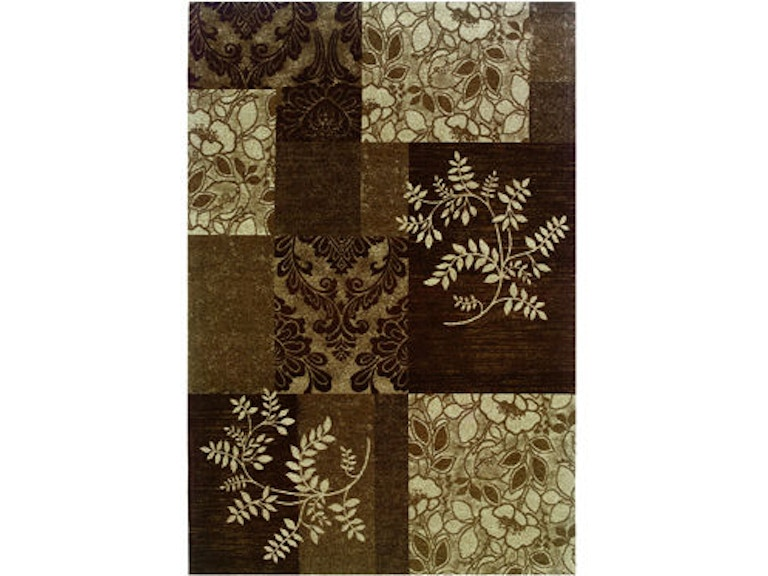 Powell Furniture Floor Coverings Chenille Tapis Patchwork Brown Rug