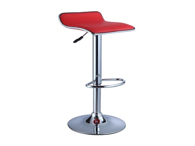Powell Furniture Red Faux Leather/Chrome Thin Seat Adjustable Height Bar Stool - 2 Pcs In 1 Carton 208-847