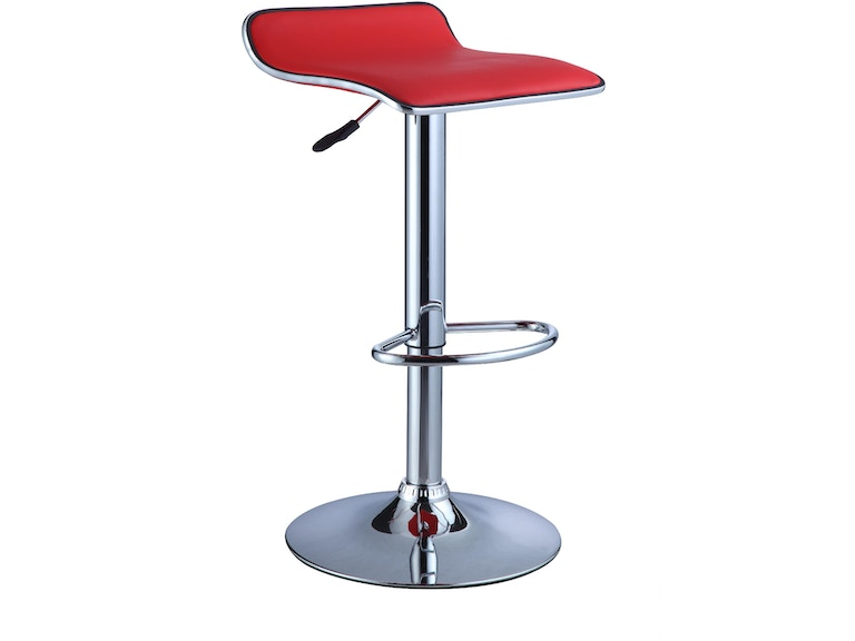 Powell Furniture Bar And Room Red Faux Leather Chrome Thin Seat