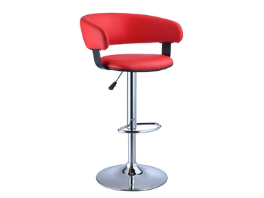 Powell Furniture Red Faux Leather Barrel And Chrome Adjustable Height Bar Stool 208-915