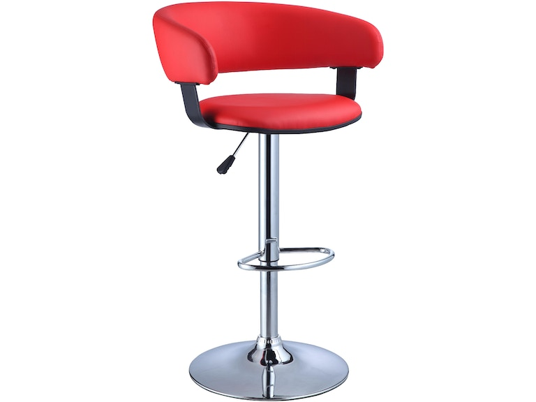 Powell Furniture Red Faux Leather Barrel And Chrome Adjule Height Bar Stool 208 915