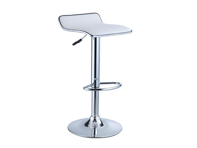 Powell Furniture White Faux Leather/Chrome Thin Seat Adjustable Height Bar Stool - 2 Pcs In 1 Carton 211-847