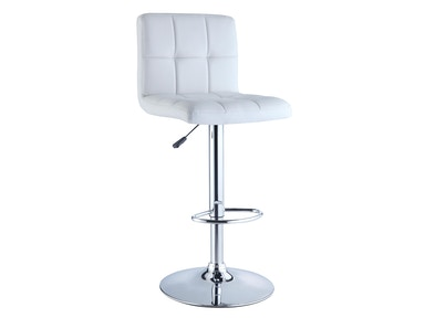 Powell Furniture White Quilted Faux Leather And Chrome Adjustable Height Bar Stool 211-851