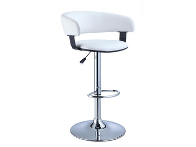 Powell Furniture White Faux Leather Barrel And Chrome Adjustable Height Bar Stool 211-915