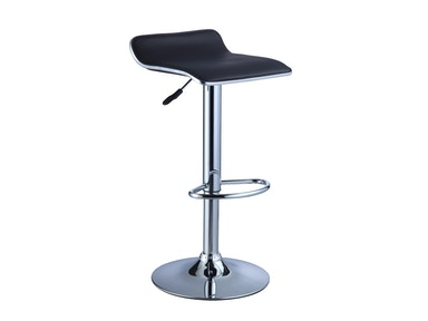 Powell Furniture Black Faux Leather/Chrome Thin Seat Adjustable Height Bar Stool - 2 Pcs In 1 Carton 212-847