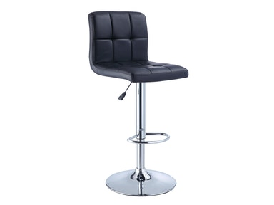Powell Furniture Black Quilted Faux Leather And Chrome Adjustable Height Bar Stool 212-851