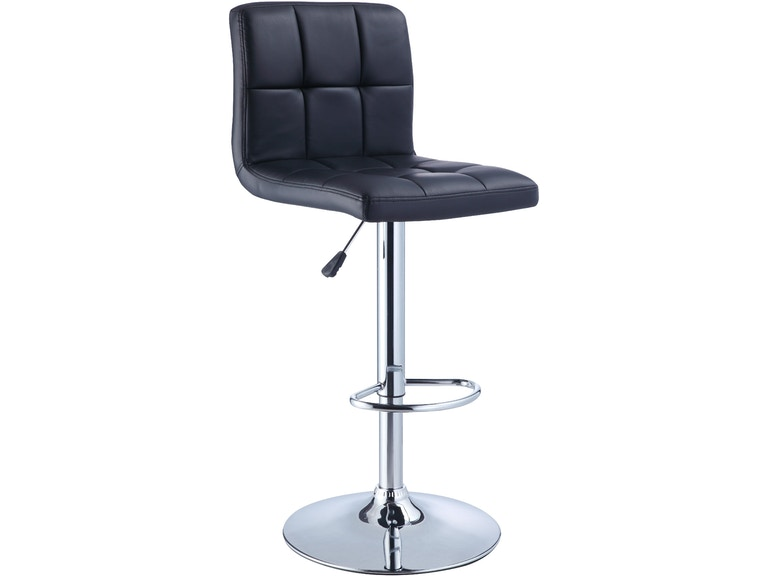 Awesome Black Quilted Faux Leather And Chrome Adjustable Height Bar Stool Caraccident5 Cool Chair Designs And Ideas Caraccident5Info