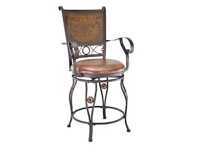 Powell Furniture Big And Tall Copper Stamped Back Counter Stool With Arms 222-430