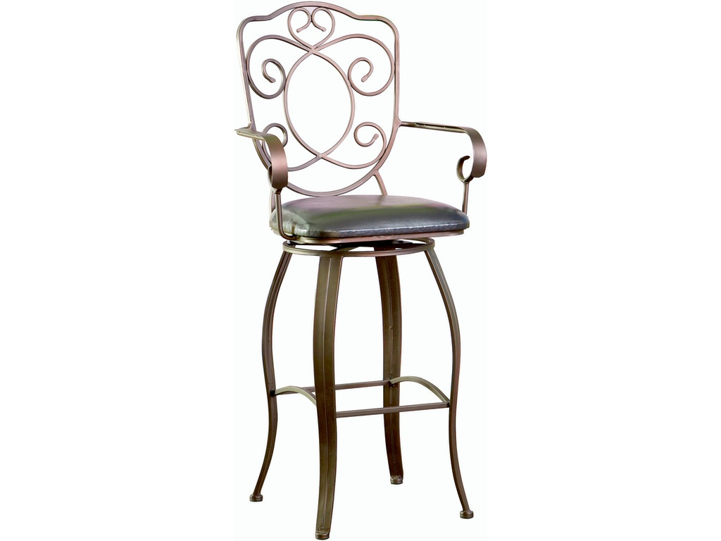 Powell Furniture Bar And Game Room Bronze With Muted Copper Scroll Back Bar Stool 30 Inch Seat