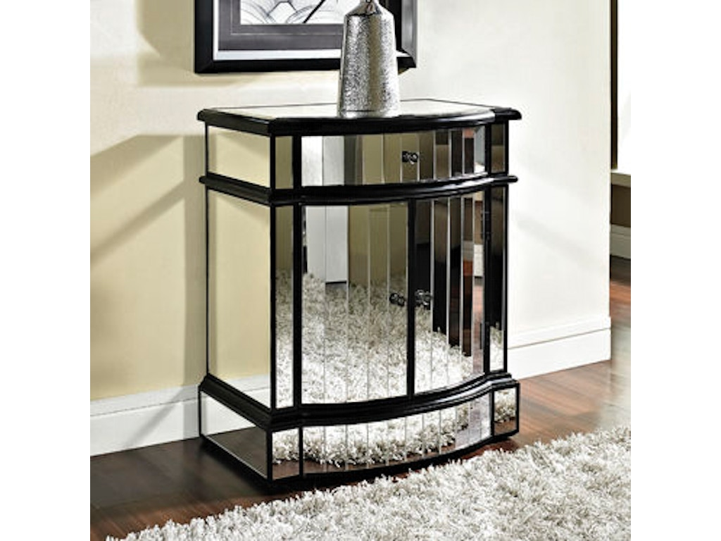 Powell Furniture Living Room Mirrored 2 Door 1 Drawer Console 233 220 Russell 39 S Fine Furniture