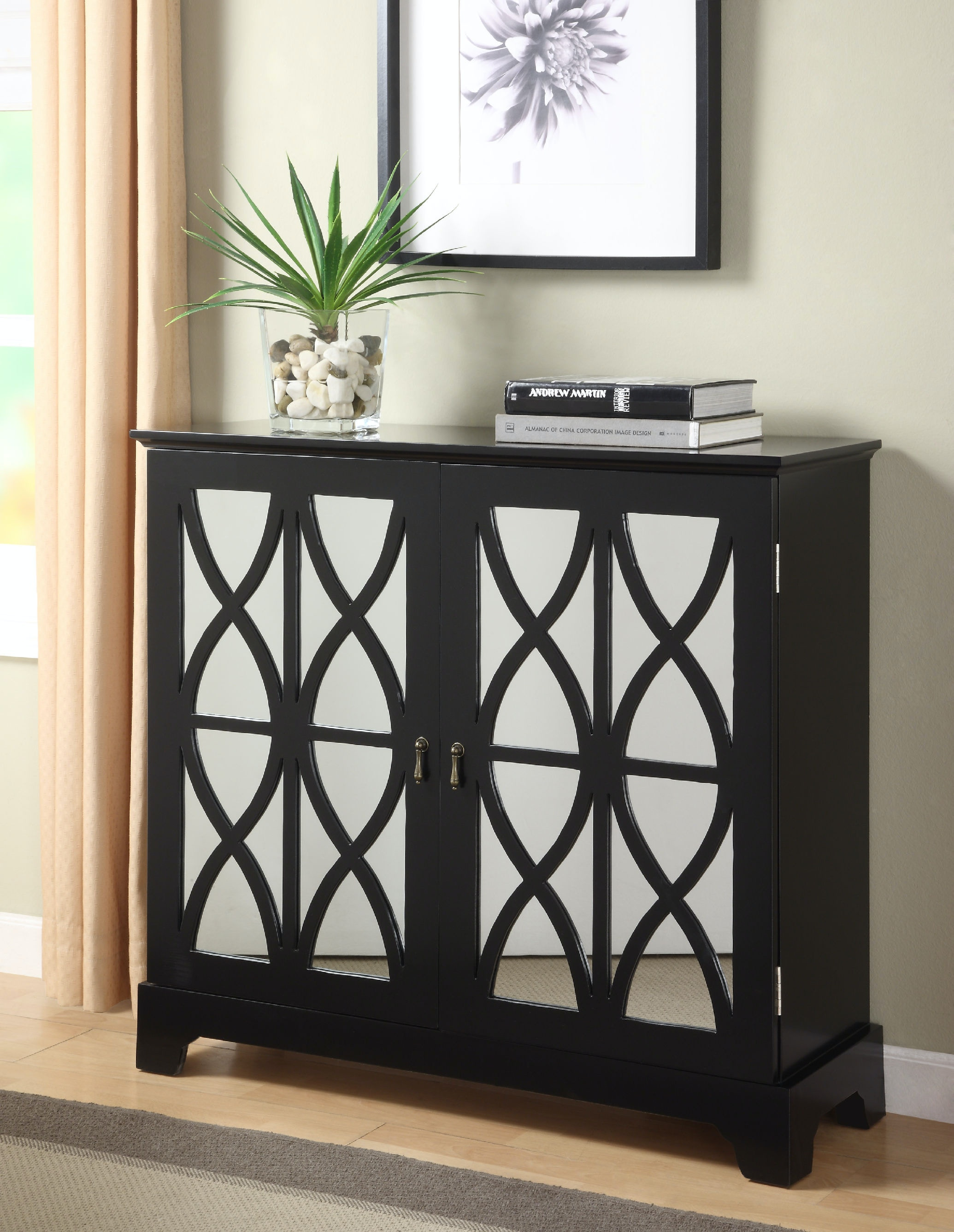 Powell Furniture Black Console With Mirrored Glass Doors 246 254