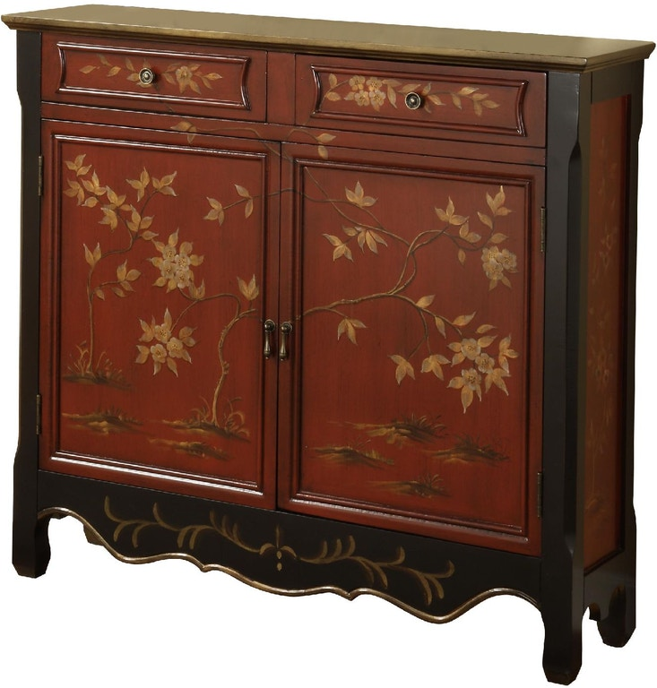 Powell Furniture Living Room Wd Red Oriental 2 Door Console