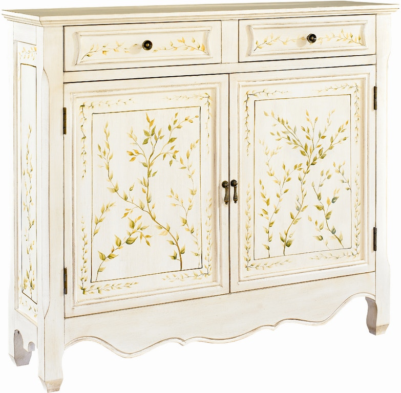 Powell Furniture Living Room White Handpaint 2 Door Console 246