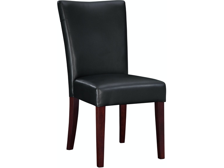 Black Bonded Leather Parsons Chair