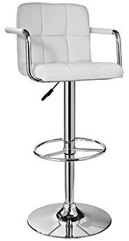 Powell Furniture Bar And Game Room White And Chrome Quilted Barstool 274 915 Carol House