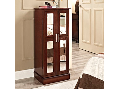 Powell Furniture Cherry And Mirror 2-Door Jewelry Armoire 279-523