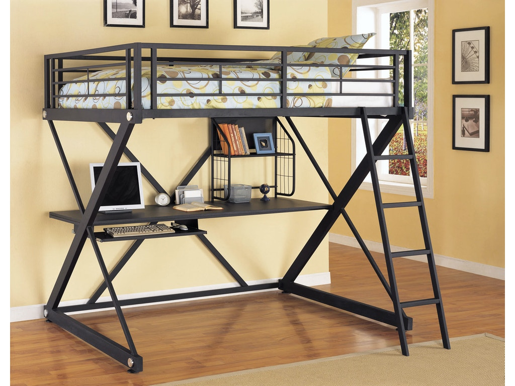Powell Furniture Youth Z Bedroom Full Size Study Loft Bunk