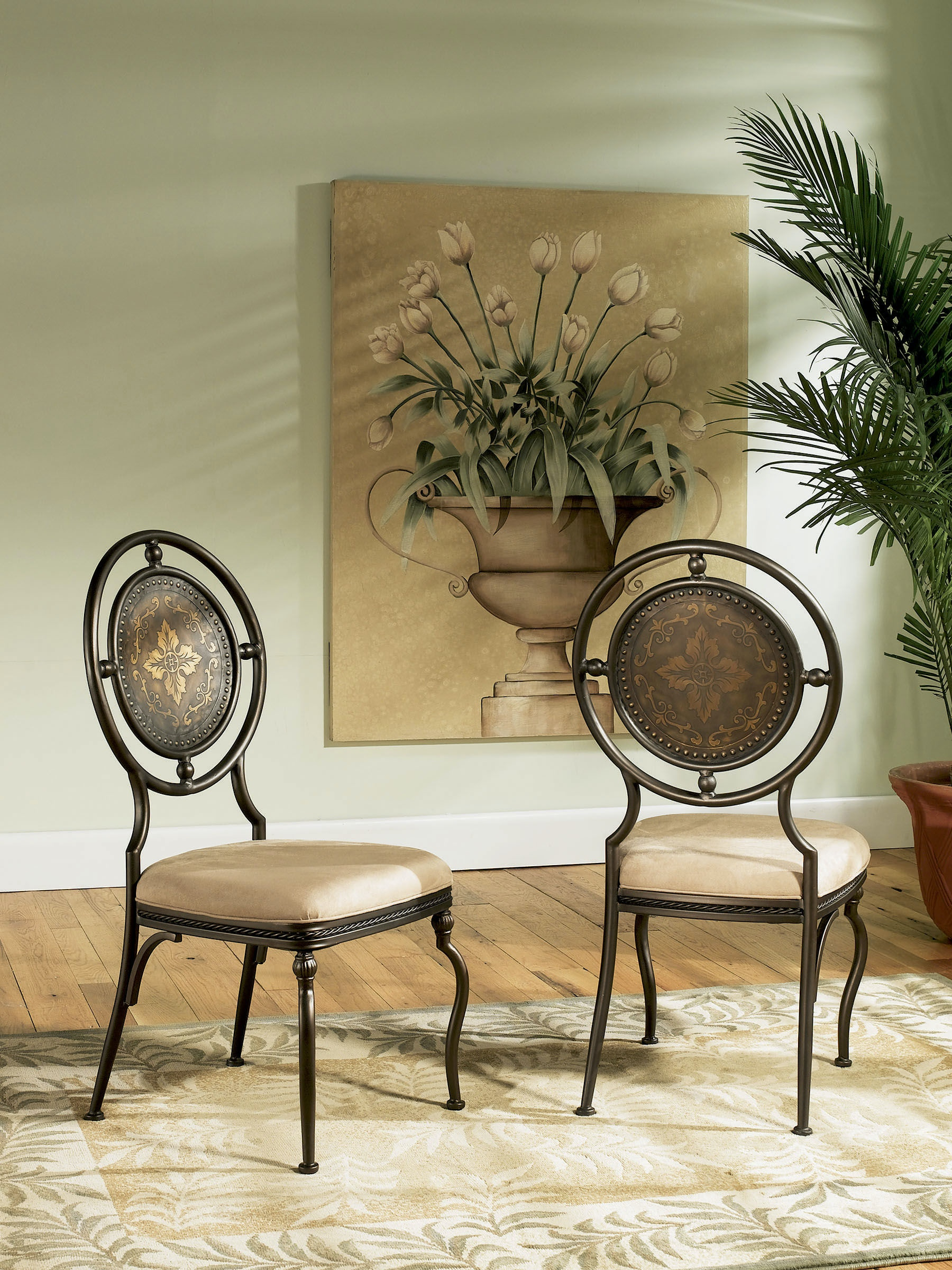 Powell Furniture Dining Room Basil Antique Brown Dining Side Chair