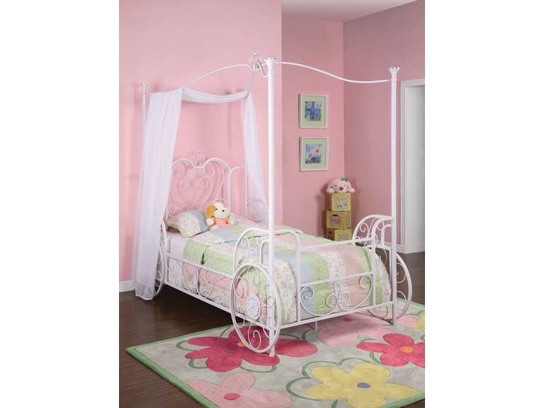 Powell Furniture Princess Emily Carriage Canopy Twin Size Bed Includes Frame 374