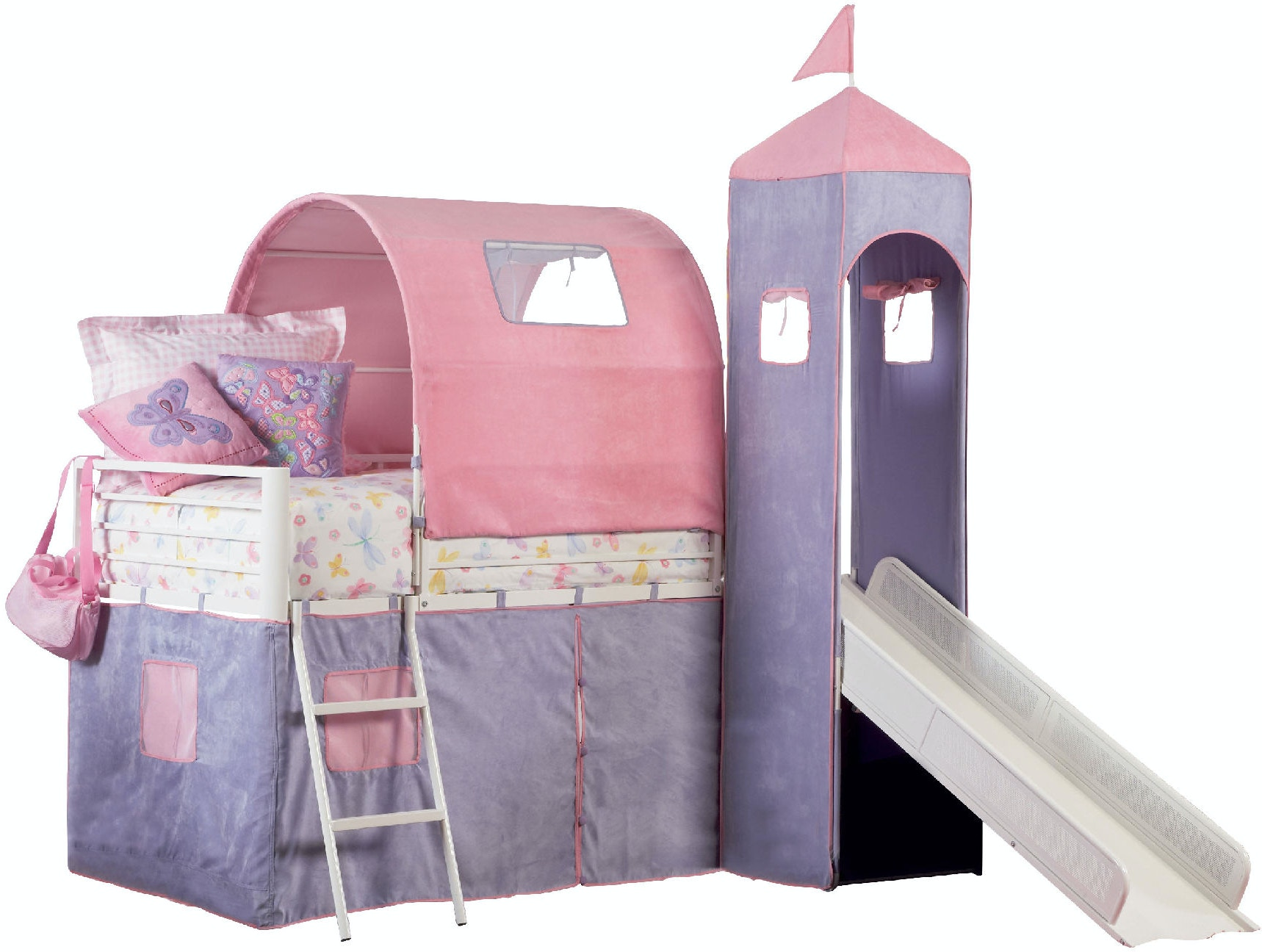 Powell Furniture Youth Princess Castle Twin Size Tent Bunk Bed With