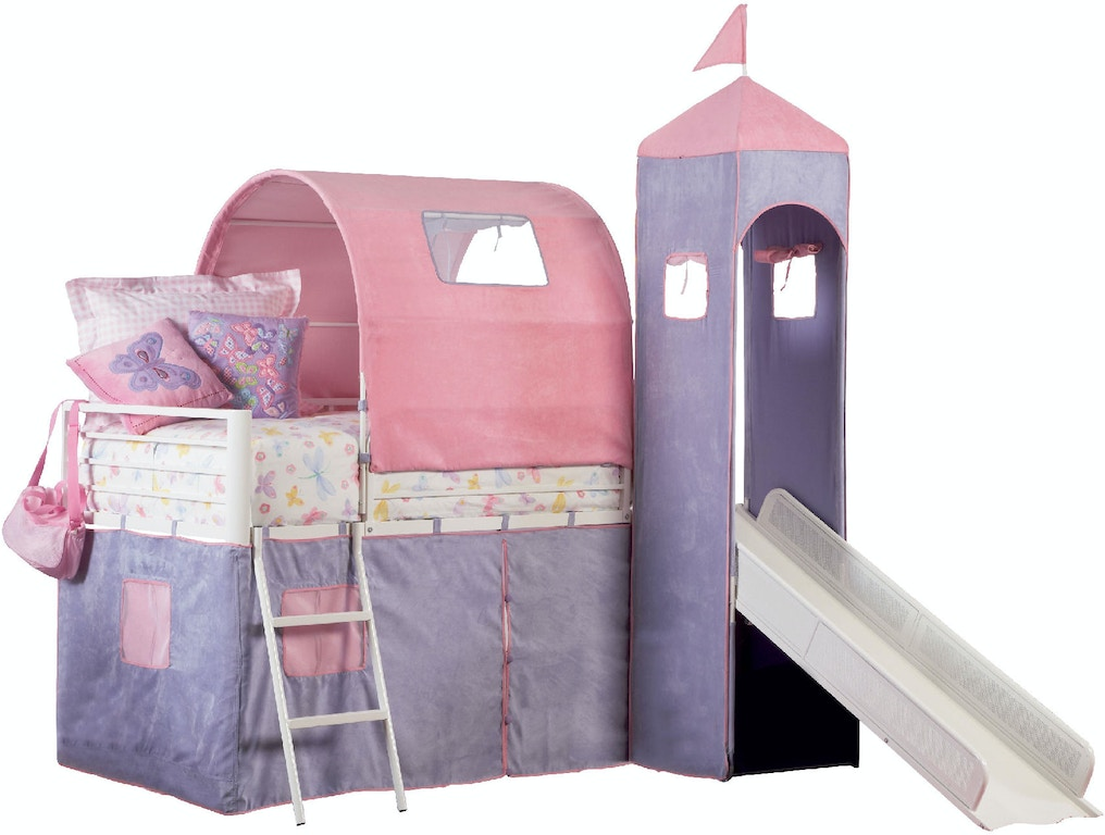 Powell Furniture Youth Princess Castle Twin Size Tent Bunk Bed With Slide 374 069 Butterworths Of