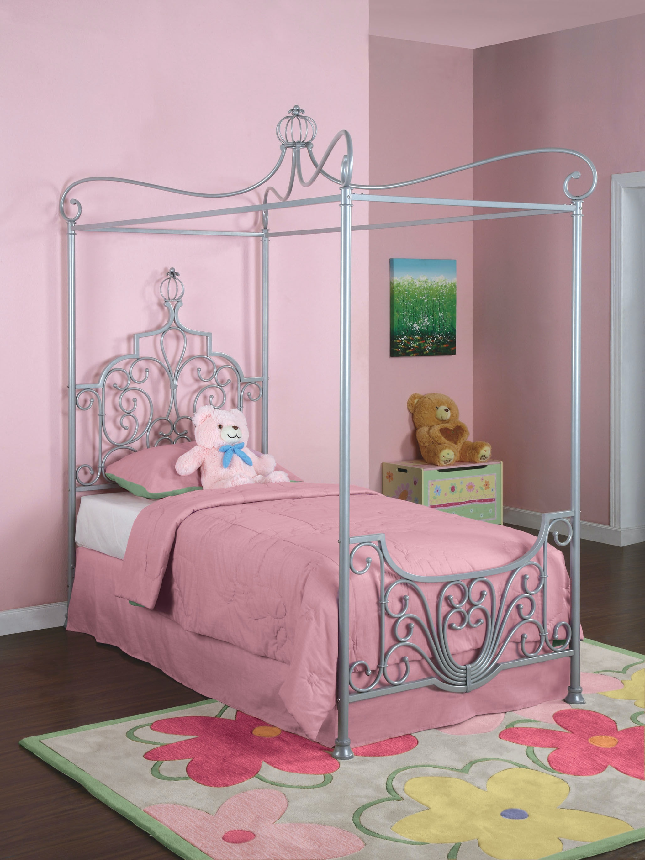 Silver Canopy Bed Frame Part - 34: Powell Furniture Princess Rebecca Sparkle Silver Canopy Twin Size Bed (P01  Frame Sold Separately)