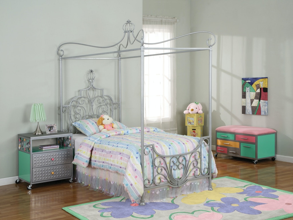 Powell Furniture Youth Princess Rebecca Sparkle Silver Canopy Twin ...