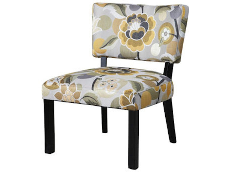 Powell Furniture Living Room Yellow And Gray Floral Accent Chair 383 ...