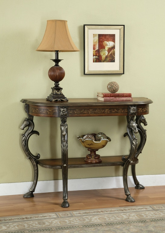 Powell Furniture Living Room Masterpiece Floral Demilune