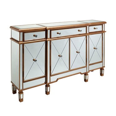 Delicieux Powell Furniture Gold And Mirrored 3 Drawers 4 Doors Console 427 304