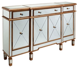 Powell Furniture Living Room Gold And Mirrored 3 Drawers 4