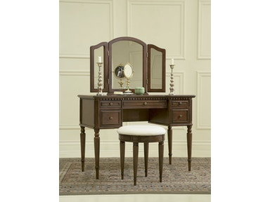 Powell Furniture Bedroom Warm Cherry Vanity Mirror And Bench 429