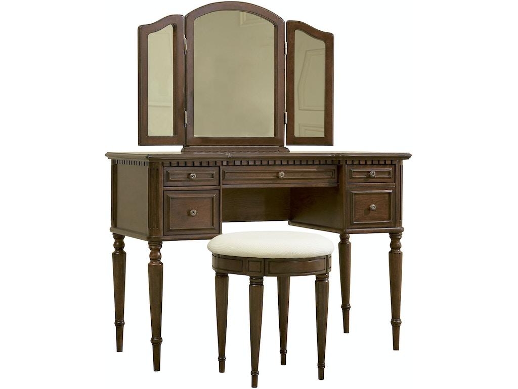Powell Furniture Bedroom Warm Cherry Vanity Mirror And