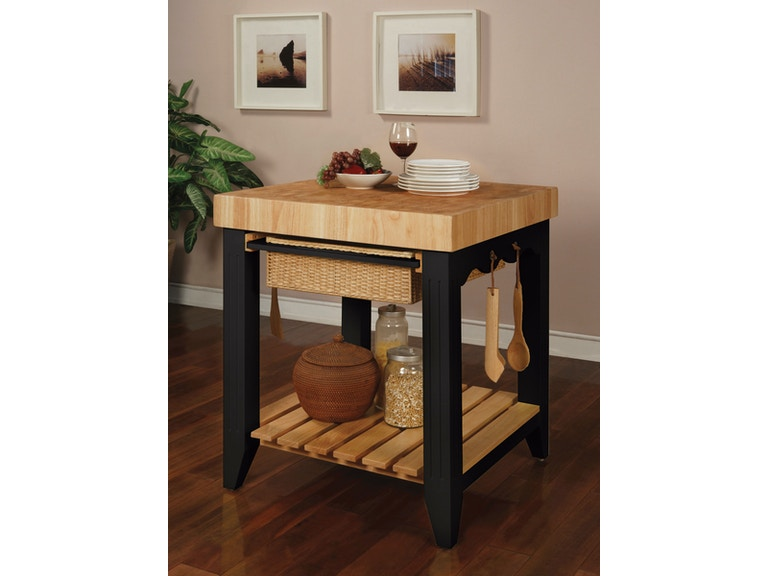 Powell Furniture Color Story Black Butcher Block Kitchen Island 502 416