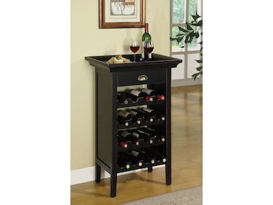 Powell Furniture Black With Merlot Rub Through Wine Cabinet 502-426
