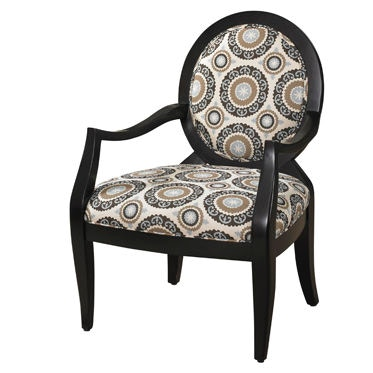 Powell Furniture Living Room Black Chair With Mist Floral Fabric 502