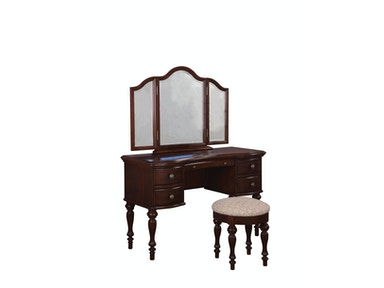 Powell Furniture Marquis Cherry Vanity, Mirror And Bench 508-290