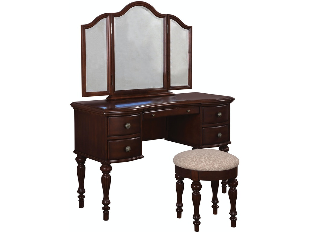 Powell furniture bedroom marquis cherry vanity mirror and for Furniture and mirror