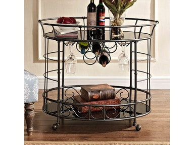 Powell Furniture Oval Serving Cart, Antique Silver With Cherry Finish Shelves 528-415