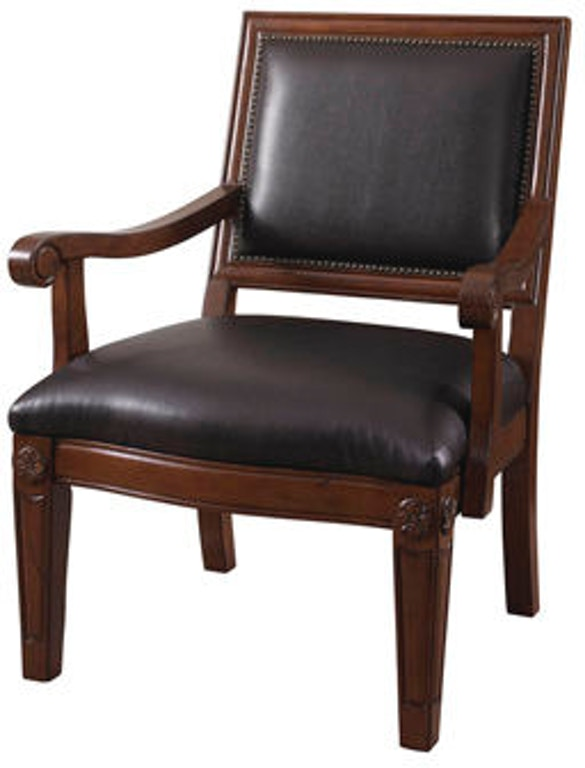 Powell Furniture Living Room Brown Bonded Chair With Wood ...