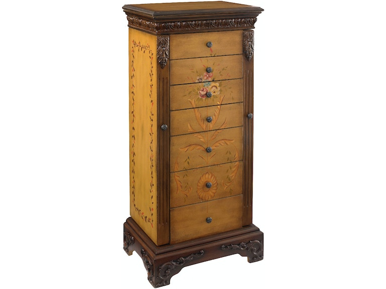 Powell Furniture Masterpiece Antique Parchment Hand Painted Jewelry Armoire  - Overpacked 582-314 - Powell Furniture Accessories Masterpiece Antique Parchment Hand