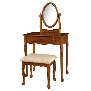 604 510. Woodland Oak Vanity, Mirror And Bench