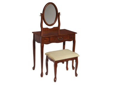 Powell Furniture Woodland Cherry Vanity, Mirror And Bench 605-290