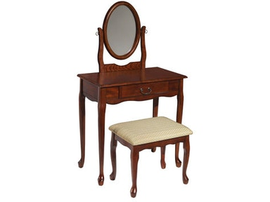 Powell Furniture Woodland Cherry Vanity Mirror And Bench 605 290