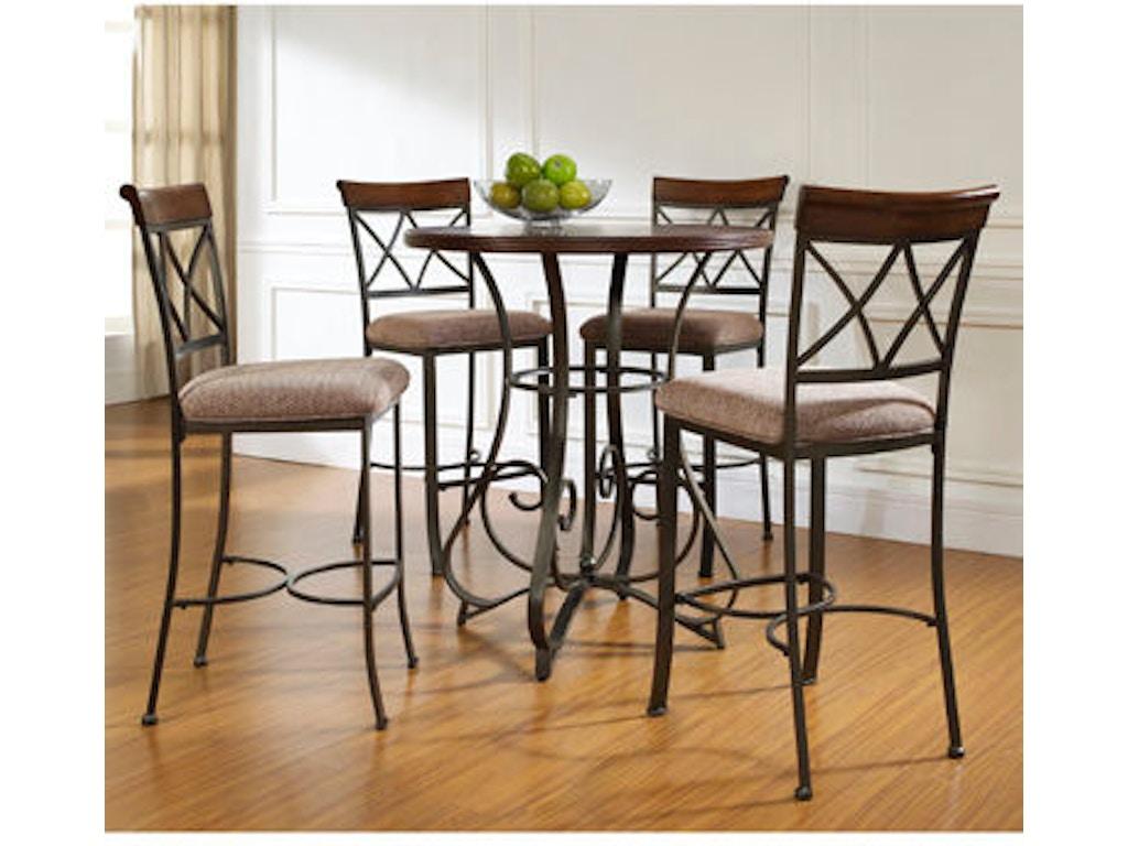Powell Furniture 5 PC Hamilton Pub Table Set With 4 Bar Stools