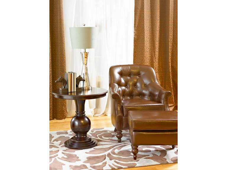 Powell Furniture Living Room Espresso Round Accent Table 809-350 ...